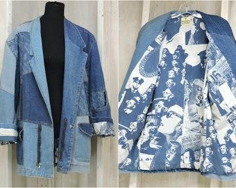 Vintage 80s denim jacket / coat / size L /  Mens / Womens / Michael Sloane / 60s Statement art jacket / acid washed / Oversized