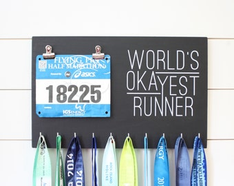 Running Medal Bib Holder Worlds Okayest Runner - Medal Holder, Medal Rack, Medal Display, Race Bib Display, Race Bib Holder
