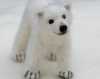 Needle Felted Polar Bear Cub, Poseable