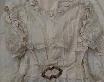 Circa 1880s Silk Wedding Dress Amazing Details & Condition!