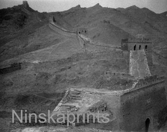 Great Wall of China, China, 1920s antique photo reprint