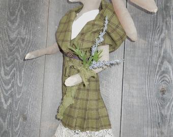 Scottish Hare Rabbit Girl Primitive Soft Sculpture Doll Arisad
