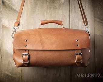 Men's Leather Bag, Leather Work Bag, Leather Duffel Bag, Men's Leather shoulder bag, Leather gear bag 240