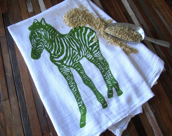 Tea Towel - Screen Printed Flour Sack Towel - Soft and Absorbent Kitchen Towel - Zebra - Eco Friendly Cotton Towel - Classic Flour Sack