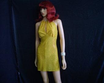 S Semi Sheer Sequin Halter Disco Mini Dress WeirdoWear Yellow Gold Metallic