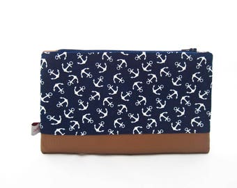 "Small Pouch, Cosmetic Bag or Clutch ""Anchors"", navy blue cotton with white anchors and brown leatherette"
