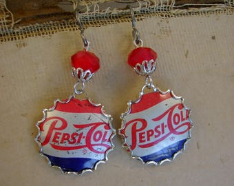 Pepsi Challenge - Vintage Pepsi Cola Bottle Caps Bezels Glass Beads Niobium Recycled Repurposed Jewelry Earrings