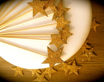 Cupcake Toppers - Set Of 6  - Gold Stars - Vintage Inspired - Art Deco