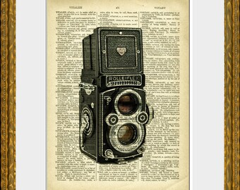 Dictionary Print - ROLLEIFLEX CAMERA recycled book page art print - 1880's dictionary page with a Rollieflex - wall art by Anamnesis Prints