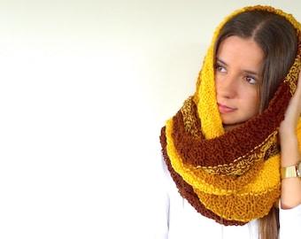 Bufanda de lana marrón y amarilla   Bufandas de moda para mujer   Bufandas de punto a dos agujas   Bufandas tejidas a mano   Moda invierno