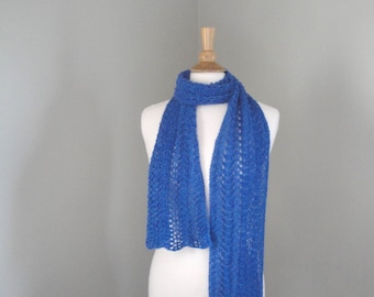 Luxury Lace Scarf, Extra Long, Bright Blue, Baby Alpaca, Hand Knit, Wrap Scarf, Gift for Her, Ripple Lace Scarf