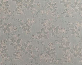 Blue Floral Fabric / Cotton Blend Fabric / Floral Fabric / Quilting Fabric