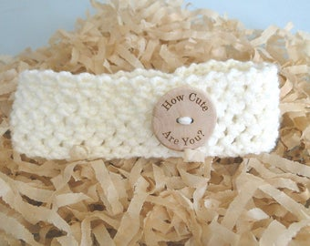 Baby Headband with Flower and Button, ear warmer, Newborn to 3 plus Months, Stretch Headband, Handmade, Ready to Ship