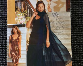 Butterick 4510 Glamour Misses Misses Petite Evening Dress Tunic Skirt Stole Sewing Pattern Size 6-10 UNCUT