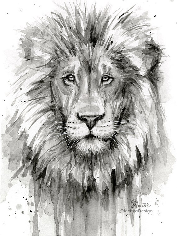 Lion watercolor painting black and white lion art print