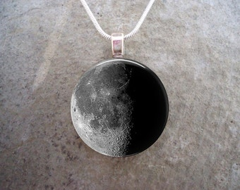 Waning Half Moon Jewelry - Glass Pendant Necklace - Astronomy