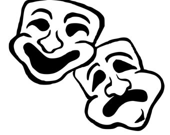 DIY Theatre Mask Vinyl Decal, Theatre Lover, Mask, Yeti Drinkware Decal, Laptop Decal, Car Window, Smiling, Frowning, Canvas Vinyl Decal