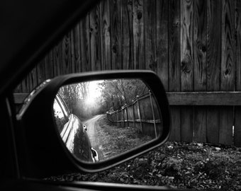 """black and white photography, fine art, path, road, reflection, monochromatic wall art - 16x20, 11x14 or 8x10 photograph, """"Keep on Keepin On"""""""