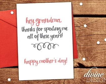 Grandma Mother's Day Card - Funny Mother's Day Card - Mothers Day Gift- Funny Mother's Day