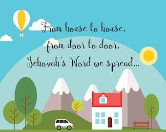 """House to House 8x10"""" poster - Instant Download - Field Service Ministry- JW gift - JW card"""