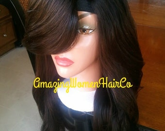 "Sale sale! Hot new Brazilian Human hair u part wig unit swoop bang soft ombre color custom made body wave hair texture lengths @ 16"" 18"" 20"""
