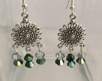 Sundial Crystal Drop Earrings