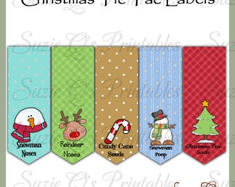 Christmas Tic Tac Labels, set of 5 - US and International size sheets - Digital Printable - Immediate Download