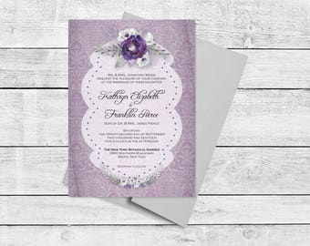 Plum Damask Vintage Wedding Invitation Suite with Watercolor Spray, Cottage Chic, Shabby Chic