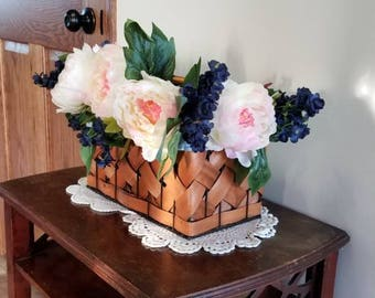 Picnic Basket Peonies Flower Arrangement