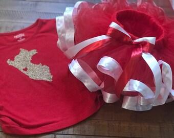 Peruvian inspired tutu/Red and white inspired tutu/ Red Tutu made With White Satin Ribbon