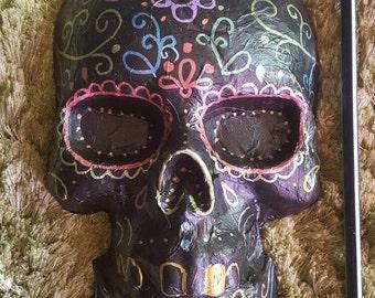 Sugar skull candy skull wall hanging .