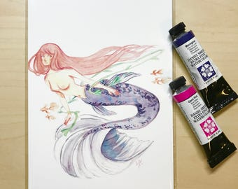 Mermaid Swimming with Fishes Print