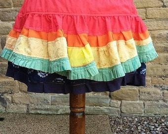 ON SALE Rainbow ruffle bustle, festival hip skirt, gay pride layered overskirt, Tribal belly dance costume, Repurposed eco clothing, Gift fo