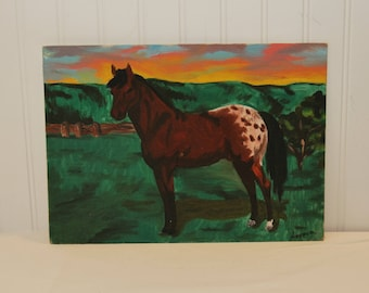 Vintage Appaloosa Horse Painting of Irish Shannagan by Norma Jean Payne Kastnik? (c. 1969) On 10 inch by 14 inch Artists' Canvas