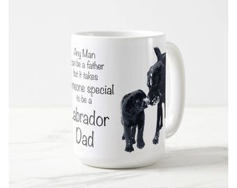 Black Lab Mug 4LD- Labrador Mug - Black Lab Gifts -Labrador Gifts - Lab Dog- Dog Dad - Lab Dad - Fathers Day - Black Dog Art - Black Lab Art