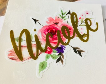 Watercolor Floral Decal, Tribal Arrow Decal, Name decal, Bridesmaid cup decals