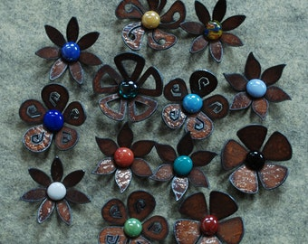 SALE - Set of 6 - Flower Magnets Steel Metal Glass  - 6 FOR 30.00