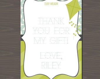 Kite Thank You Notes , Kite Stationery, Kite Note Cards to Trace, Dotted Font Thank You Notes, Fill in Kite Thank You Cards, Kite Card, Kite