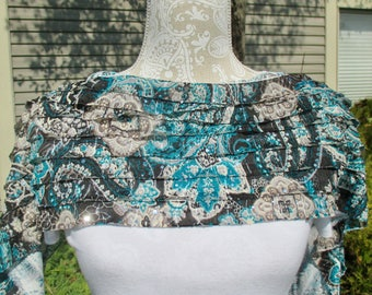 A ruffled shawl, silky fabric shawl, pashmina shawl, sequined shawl, pashmina wrap, lightweight wrap, silky stole in black and turquoise
