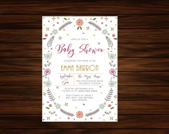 Floral Wreath Baby Shower Invitation by PrintablePapery [printable]