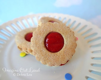 Fake Cookies Cherry Red Circle Sandwich Linzer Tart Set of 3