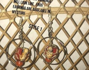 Custom earrings, personalized earrings,  lamp work earrings,  pick your favorite animal, drop earrings,  dangle earrings,