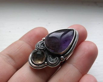 Amethyst and faceted smokey quartz multistone statement ring (size 7)