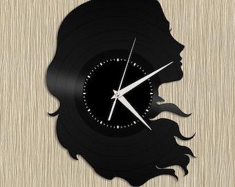 Hair Salon Clock Hair Decor Gift For Mom Hair Stylist Gift Girl Clock Girls Room Clock Hair Salon Wall Art Vinyl Record Clock Art For Her