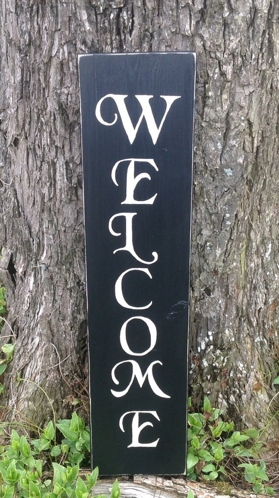 Vertical Rustic Wood Welcome Sign Wooden Welcome Sign