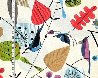 Scandinavian bird fabric retro butterfly bee funky home decorating material 1 yard