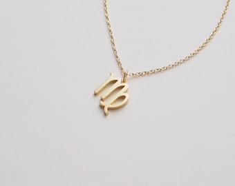 Zodiac Necklace, Dainty Zodiac Charms, Delicate Minimalist Layering Necklace in Sterling Silver, Gold, Rose Gold #D95