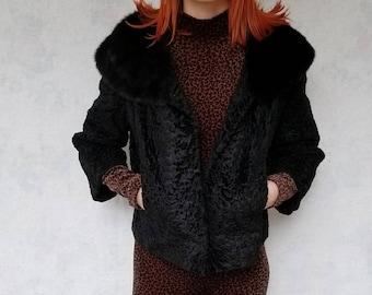 Black Persian lamb skin coat with mink collar