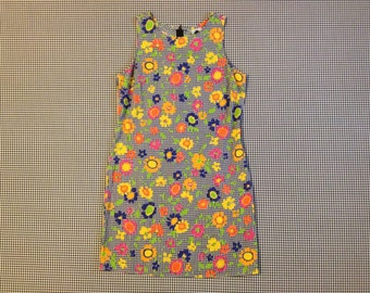 1990's, sleeveless, sack dress in gingham checks and bright flowers, Women's size 9