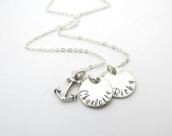 Personalized Anchor Necklace  - Custom Name Jewelry - Best Friends - Mothers Necklace - Personalized Jewelry - Kids Name - Engrave - Couples